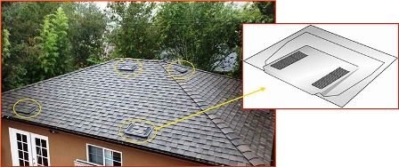 Image of roof with several O'Hagin roof vents being used for both intake and exhaust.