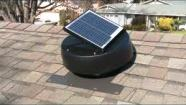 Image of a solar powered attic exhasut fan mounted on a roof.